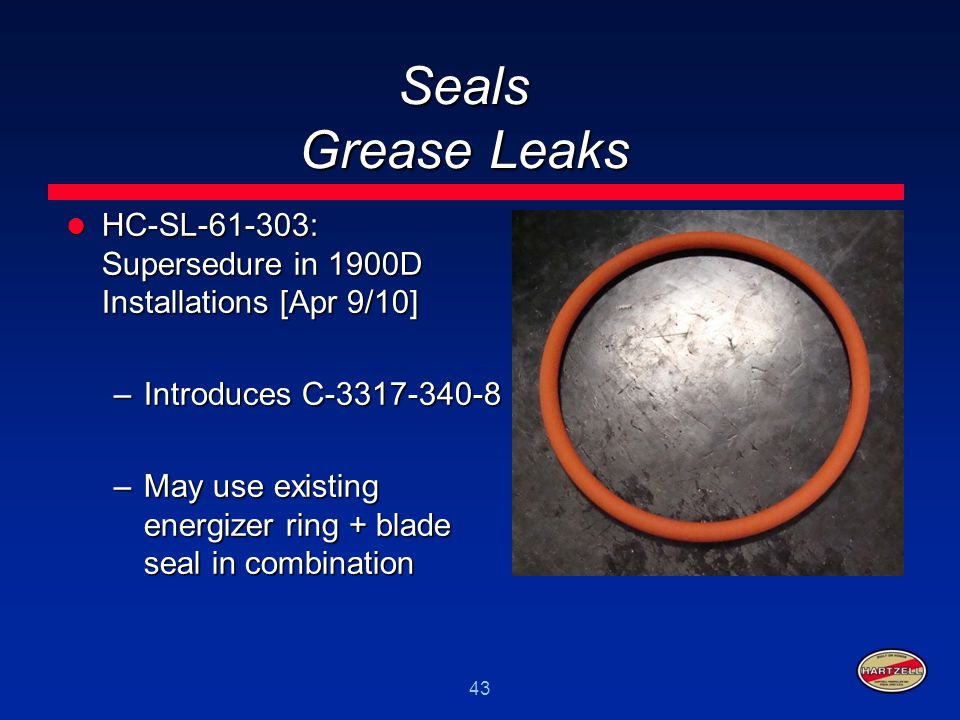 Seals Grease Leaks HC-SL-61-303: Supersedure in 1900D Installations [Apr 9/10] Introduces C-3317-340-8.